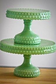 Jadeite cake stands