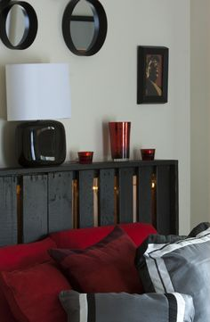 pallet headboard. This would be cheap and cool if there were string lights inside of it