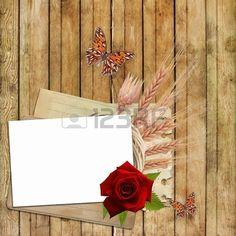 Carta per invito o Congratulazione con rosa rossa e la farfalla Archivio Fotografico