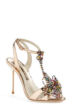 Gorgeous rose gold and bead sandals.