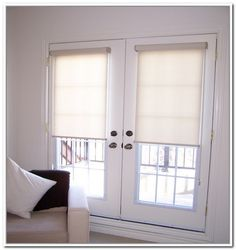 Sunscreen Roller Blinds Fitted To French Doors Rollershades
