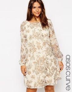 41f4288e ASOS CURVE Exclusive Shift Dress In Sketch Floral Print Asos Kurver, Mode  For Kurvede Piger