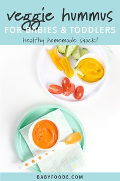 This Veggie-Loaded Hummus is an amazing recipe for baby or toddler! Puree, baby-led weaning, toddler veggie dip - great for all ages months and up! Healthy Store Bought Snacks, Healthy Homemade Snacks, Homemade Baby Foods, Healthy Food, Baby Puree Recipes, Baby Food Recipes, Toddler Recipes, Baby First Finger Foods, Baby Finger