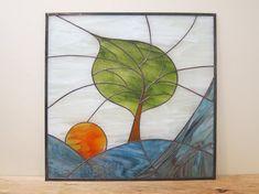 Tree Stained Glass Panel Modern Blue Sunrise by FleetingStillness