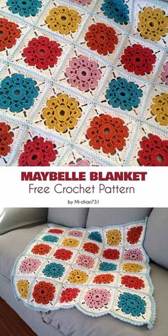 Maybelle Blanket Free Crochet Pattern This lovely blanket reminds me of vintage designs, because it's soft and very feminine. Crochet Flower Squares, Crochet Squares Afghan, Crochet Motifs, Granny Square Crochet Pattern, Crochet Blanket Patterns, Crochet Flowers, Knitting Patterns, Crochet Blankets, Knitting Ideas