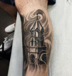 Castle Tower Tattoo Leg  - http://tattootodesign.com/castle-tower-tattoo-leg/  |  #Tattoo, #Tattooed, #Tattoos