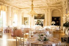 Rosecliff wedding. Here the ballroom of Rosecliff Mansion is set for a reception. so dreamy!