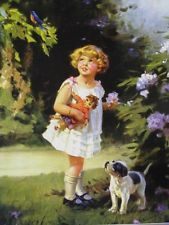 Mabel+Rollins+Harris+Bluebird+Girl | little girl holding doll watching bluebird with her puppy dog