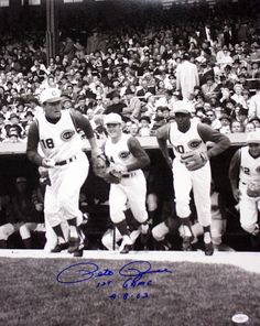 Pete Rose takes the field for his first Major League game.