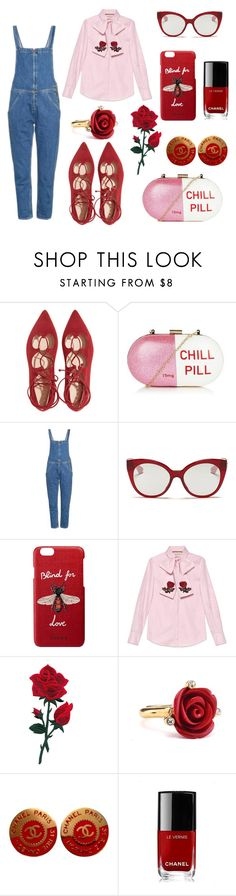 """Untitled #60"" by laurasure ❤ liked on Polyvore featuring Topshop, M.i.h Jeans, Miu Miu, Gucci, Oscar de la Renta and Chanel"