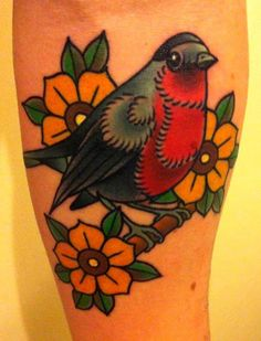 Traditional Bird on a Branch Flower Tattoo By Phatt German