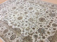 9-X-12-Ivory-Beige-Kashan-Persian-Oriental-Area-Rug-Hand-Knotted-All-Over-Floral