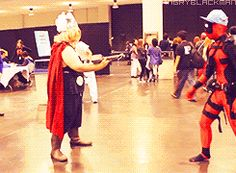 He tried to lift Thor's hammer once. It didn't work. | This Guy Who Cosplays As Deadpool Every Year Is Almost As Funny As Ryan...