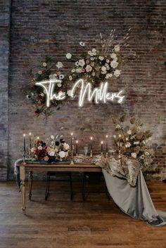 Custom Wedding Neon Sign. LED custom Decor for wedding Wall | Etsy Boho Wedding, Dream Wedding, Trendy Wedding, Decoration Vitrine, Wedding Colors, Neutral Wedding Decor, Small Wedding Decor, Wedding Wall Decorations, Wedding Backdrop Design