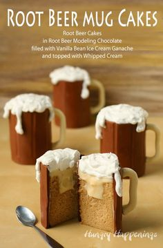 Root Beer Mug Cakes filled with Vanilla Ice Cream Ganache | HungryHappenings.com