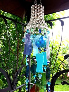 Stained glass crystal bell sun catcher wind chime