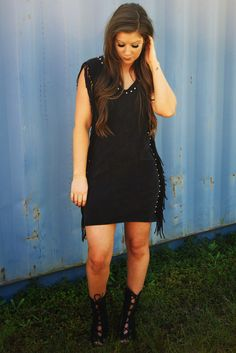 Keep On Rockin' Dress: Distressed Black