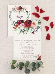burgundy floral fall wedding invitations/ blush pink and burgundy rustic chic wedding invitations