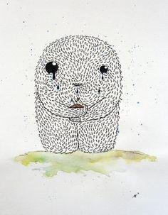 Zeichnung von Ann-Kathrin Nikolov - Growth: Aquarellfarbe und Tusche auf Aquarellpapier (Wachstum Schmerz keimen Sproß Monster)