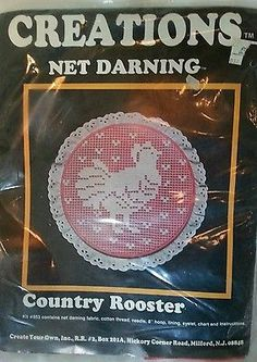 Creations Net Darning Country Rooster Kit 953 Hoop Hearts Embroidery
