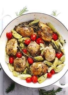 This healthy, one skillet chicken dinner, is a pretty dish filled with flavor and comes together in under 30 minutes, making it perfect for any weeknight or date night dinner. #Chicken #Rosemary #Skillet #OnePot #Dinner #TheDinnerChef #Quick #Easy #CleanEating