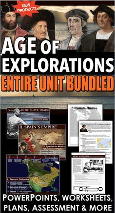 Age of Exploration Complete Unit Bundled includes Age of Exploration PowerPoint with video and presenter notes. Unit also includes, warm up PowerPoints, informational text documents with questions, primary source lessons, maps, exit tickets, crossword review, Kahoot! review game, video/video guide, and assessment. Everything is put together with detailed daily lesson plans. Just copy and paste to your lesson plans.