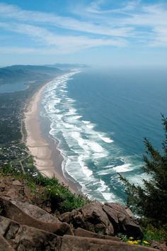 View from Neahkahnie Mountain looking down on Manzanita, Oregon.---Neahkanie Mountain, long fabled for harboring buried treasure. No one has ever been able to find any treasure, yet the legend persists. Great Places, Places To See, Beautiful Places, Oregon Living, Costa, Oregon Washington, Oregon Travel, Oregon Coast, Vacation Spots