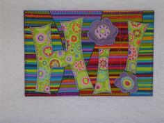 HI Fabric Quilted Appliqued Postcard   A fun way to say HI