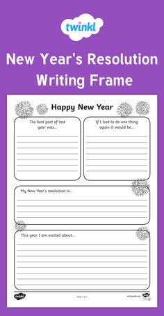 New Year's Resolution Writing Frame - Celebrate the new year with these lovely new year's resolution writing frames. Great for encouraging your children to think about their goals and aspirations. Writing Goals, Writing Prompts For Kids, Kids Writing, First Day Of School Activities, New Years Activities, Writing Activities, New Years Resolution Kids, Christmas Writing, New Year Goals