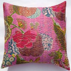 Kantha Stitch Cushion Cover - Tropical Pink 41cm 16 inch vintage bohemian $14.50