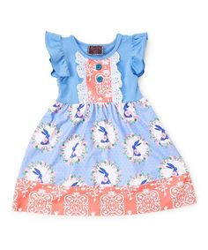 88911e19ef07 Royal Gem Blue Bunny Ruffle Angel-Sleeve Dress - Toddler & Girls | Zulily  Toddler