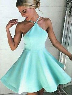 Sexy A-line Mint Green Short Homecoming Dress, Sexy Halter Cocktail Dress ,Open Back Prom Dress