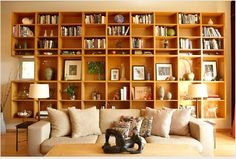 Wall of Danish Modern bookcases.