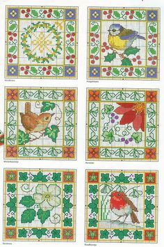 Cross-stitch flowers and birds. Biscornu.