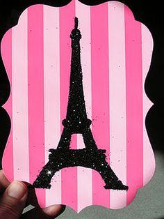 Paris Spa Party Invitations - glittered