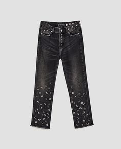 Image 8 of HIGH WAIST CROPPED JEANS WITH EYELETS from Zara