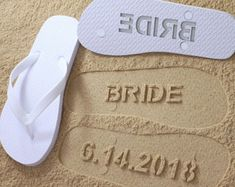 e757b51a690 Custom Beach Custom Wedding Flip Flops - Personalized Wedding Shoes for  Bride   Groom or Honeymoon  check size chart