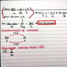 Continuação de velocidade: resolução do exemplo 2, transformação de unidades e Velocidade Vetorial Média. #fisica #enem #vestibular #resumo #enem2016 #medbulanda #medbulando #vestibulando #vestibulanda #foconojaleco #projetomedicina #estudaquepassa #vaitermedsim #medicina #vemmed #resumosdaana Student Life, High School, Math Equations, Organization, Studying, Instagram, Concept Diagram, Study Notes, School Tips