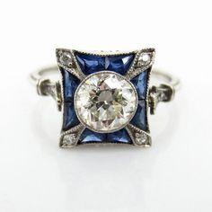 Art Deco Diamant im Altschliff von ct – ct Saphir-Platinring … - Jewelry Crafts Art Deco Schmuck, Bijoux Art Deco, Art Deco Jewelry, Fine Jewelry, Jewelry Necklaces, Jewelry Design, Jewlery, Jewelry Watches, Designer Jewelry