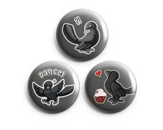 Set of 3 Crow Pinback Buttons, Pins, Buttons, Badges, Cute Animal Art - Product Available from BeeZeeArt.com