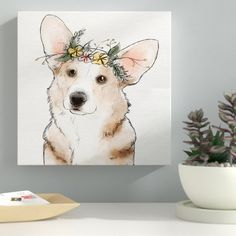 'Floral Crown Corgi' Watercolor Painting Print on Wrapped Canvas