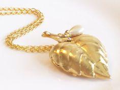 Vintage Heart Leaf Locket Vintage Perfume Pendant by LoveLockets, $28.00