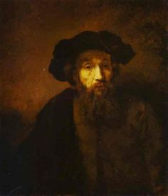 Rembrandt This picture does not do it justice.  In the painting, you could see the nuances of the different strokes that Rembrandt used in his painting,