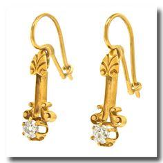 Inv. #15519  Antique Etruscan Revival Dangle Earrings 18k / 14k c1870s. Lawrence Jeffrey Estate Jewelers.
