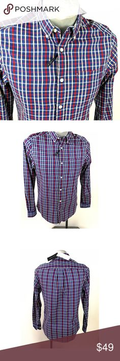 """Tommy Hilfiger Mens Shirt Size XS Red Blue Plaid Tommy Hilfiger  Size XS  Red Blue White Stripe Plaid  100% Cotton  Back Length -  29.5"""" ( center back neck seam to hem)  Width  20"""" flat armpit to armpit ( multiply by 2 for approx. circumference )  Sleeve  35""""  (center back  neck seam to cuff)  New with tags Tommy Hilfiger Shirts Casual Button Down Shirts"""