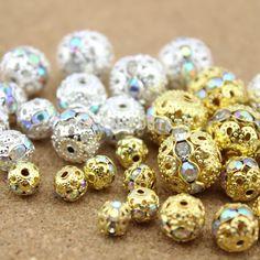 Barato 50 pçs/lote Dia 6 mm / 8 mm / 10 mm / 12 mm de prata banhado a ouro AB contas de pedra de cristal Spacer Beads DIY apreciação jóias F29, Compro Qualidade Adornos diretamente de fornecedores da China:  5pcs/lot metal bangle 6cm/6.5cm/7cm diameter jewelry DIY rhodium plated ring size 3mm F923US $ 5.25/lot10 pcs/lot