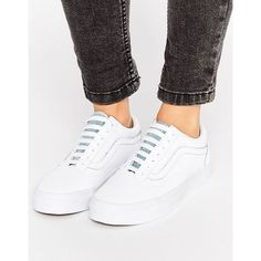 921d4d409ce044 Vans White Leather Old Skool With Denim Trim (£69) ❤ liked on Polyvore