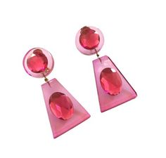 "Judith Hendler Trapezoidal-shaped Drop Earrings with Faceted Resin Rhinestones.  Absolutely fabulous vintage hot pink Judith Hendler Trapezoidal-shaped drop earrings with faceted resin rhinestones. These earrings feature a circular disc surmounted by a faceted resin circ ""rhinestone,"" suspending an artfully-cut Acrylic hot pink trapezoidal plaque surmounted by an oval-shaped resin rhinestone. Fantastically dramatic catching the light in the decorative rhinestones."