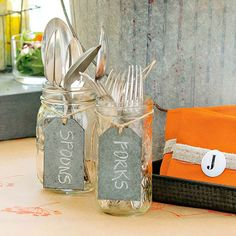 We're over silverware nestled in napkins. Instead, label and fill Mason jars with spoons and forks -- the little holders are great for cute casual munching or buffet-style parties: http://www.bhg.com/party/mason-jar-party-ideas/?socsrc=bhgpin112914silverwareholders&page=3