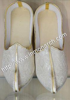 c4ecede0ed3d Winsome designer mojari made in cream color brocade fabric. Mens Sherwani